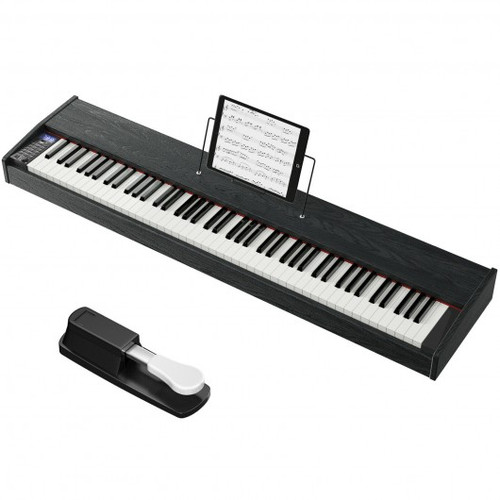 88-Key Full Size Digital Piano Weighted Keyboard w/Sustain Pedal-Black
