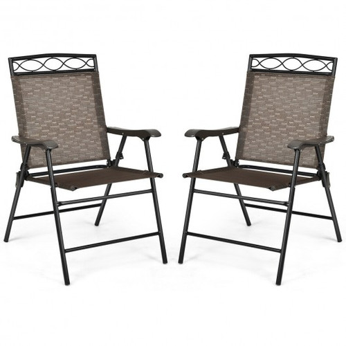 Set of 2 Patio Folding Chairs Sling Portable Dining Chair Set w/Armrest