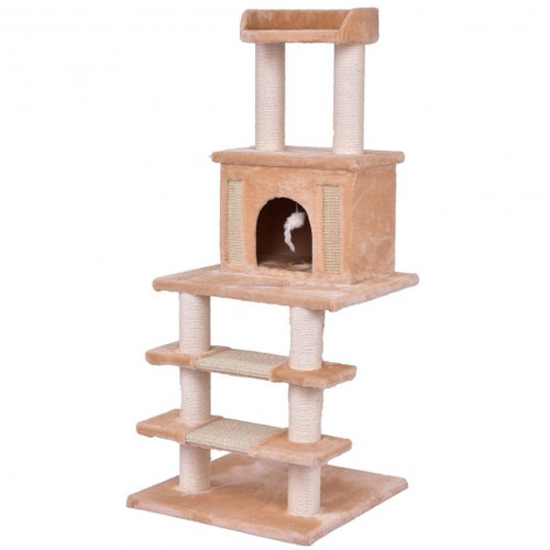 """52"""" Tower Condo Scratching Post Cat Tree w/ Rope & Mouse-Beige"""