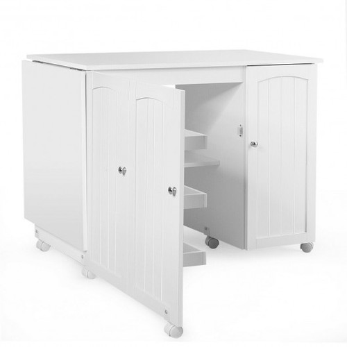 Folding Sewing Table Shelves Storage Cabinet Cra' Cart w/Wheels-White