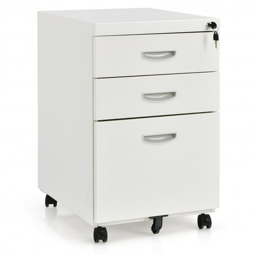 3-Drawer Mobile File Cabinet Steel w/Lock Handle-White