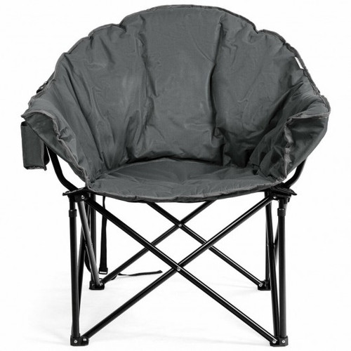 Folding Camping Moon Padded Chair w/Carry Bag-Gray