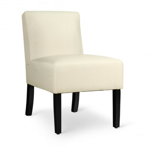 Accent Chair Fabric Upholstered Leisure Chair w/Wooden Legs Beige-Beige