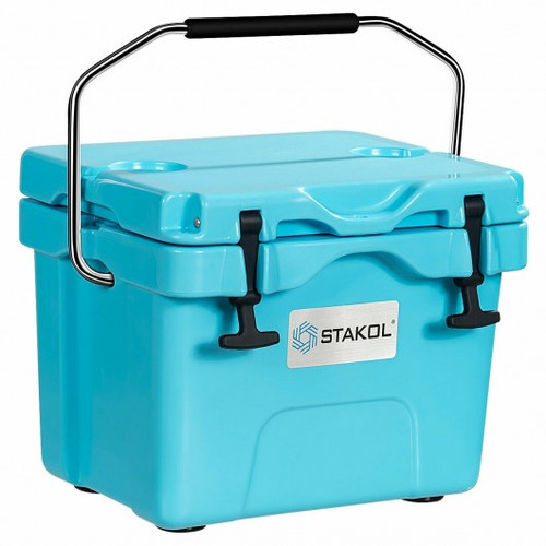 16 Quart 24-Can Capacity Portable Insulated Ice Cooler w/2 Cup Holders-Blue