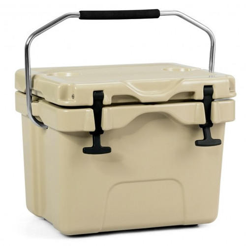 16 Quart 24-Can Capacity Portable Insulated Ice Cooler w/2 Cup Holders