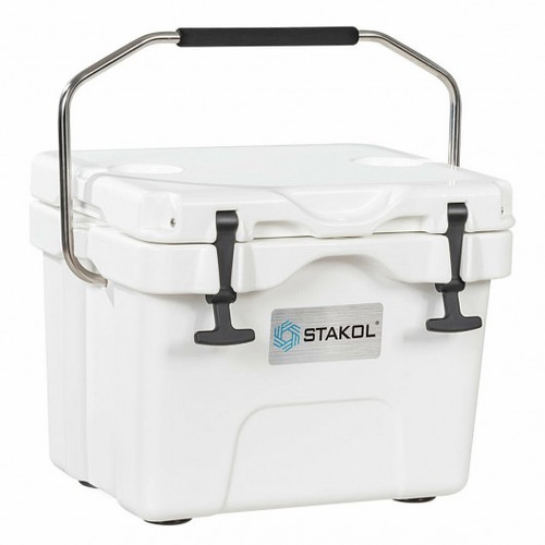 16 Quart 24-Can Capacity Portable Insulated Ice Cooler w/2 Cup Holders-White
