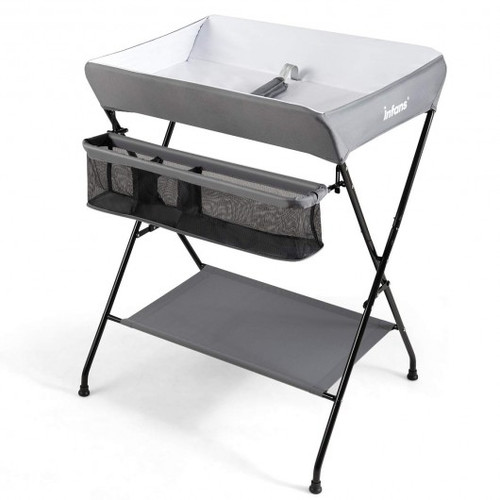 Portable Infant Changing Station Baby Diaper Table w/Safety Belt-Gray