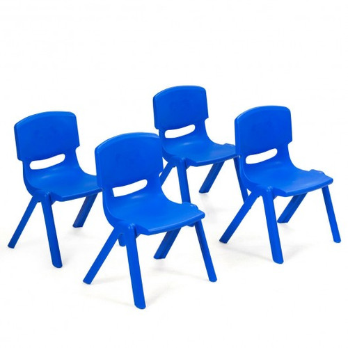 4-pack Children Plastic Stackable Classroom Chairs-Blue