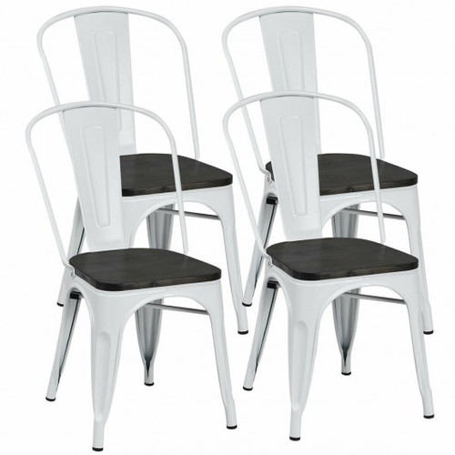 4pc Tolix Style Metal Dining Side Chair Stackable Wood Seat-White