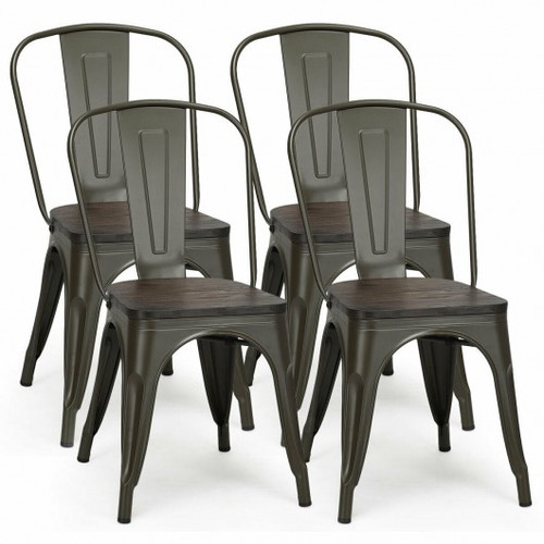 4pc Tolix Style Metal Dining Side Chair Stackable Wood Seat-Black