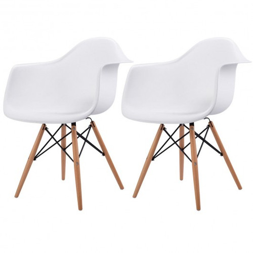 Set of 2 Mid-Century Dining Arm Chairs w/Wood Legs