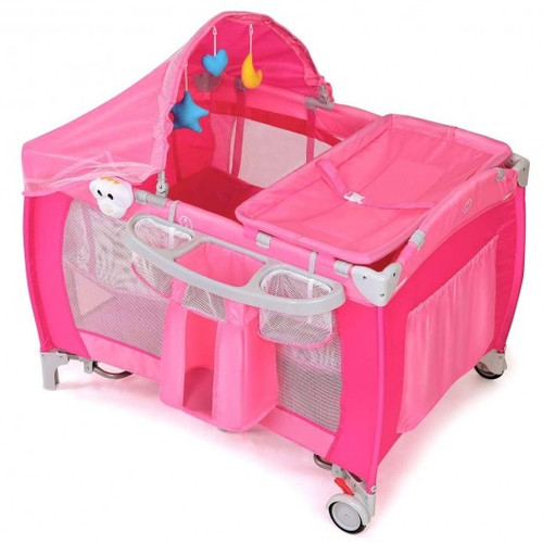 Foldable Baby Crib Playpen w/ Mosquito Net & Bag-Pink