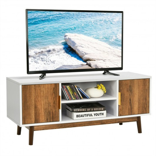 TV Stand Entertainment Media Console w/2 Storage Cabinets & Open Shelves