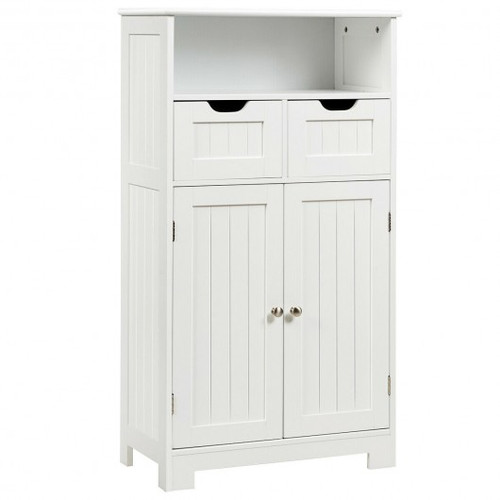 Bathroom Wooden Side Cabinet  w/2 Drawers & 2 Doors-White