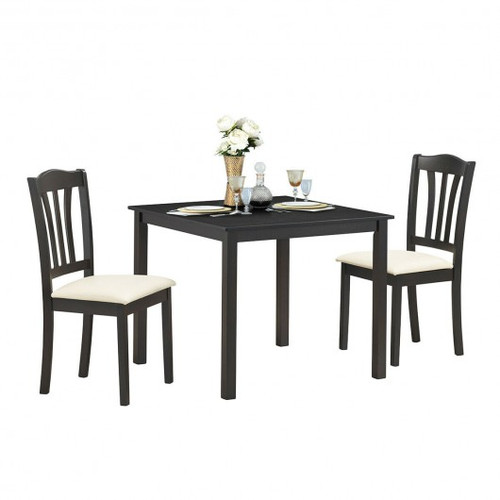 3pc  Dining Set Square Table w/2 Padded Wooden Chairs