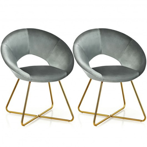Set of 2 Accent Velvet Chairs Dining Chairs Arm Chair w/Golden Legs-Gray