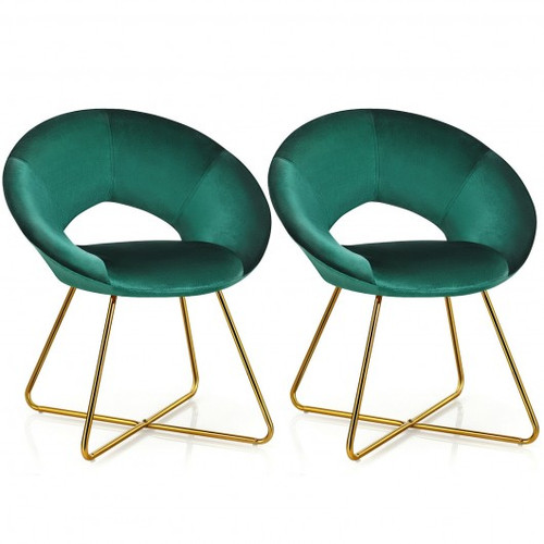 Set of 2 Accent Velvet Chairs Dining Chairs Arm Chair w/Golden Legs Dark Green