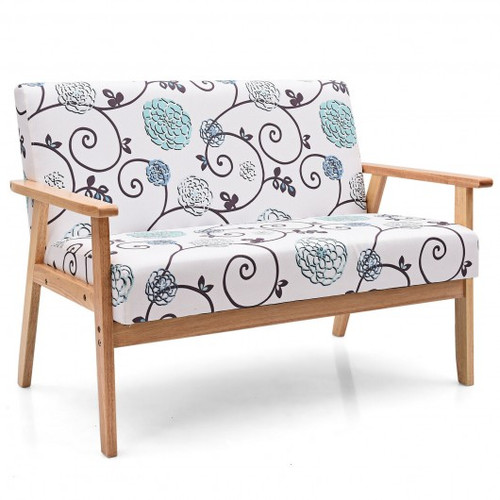 Modern Fabric Loveseat Sofa Couch Upholstered 2-Seat Armchair-Blue