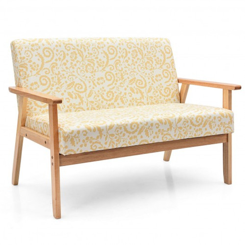 Modern Fabric Loveseat Sofa Couch Upholstered 2-Seat Armchair-Yellow