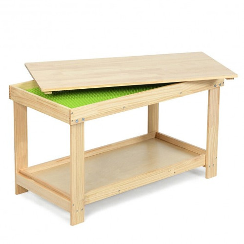Solid Multifunctional Wood Children Activity Play Table-Natural