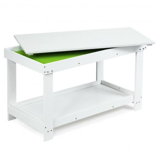 Solid Multifunctional Wood Children Activity Play Table-White