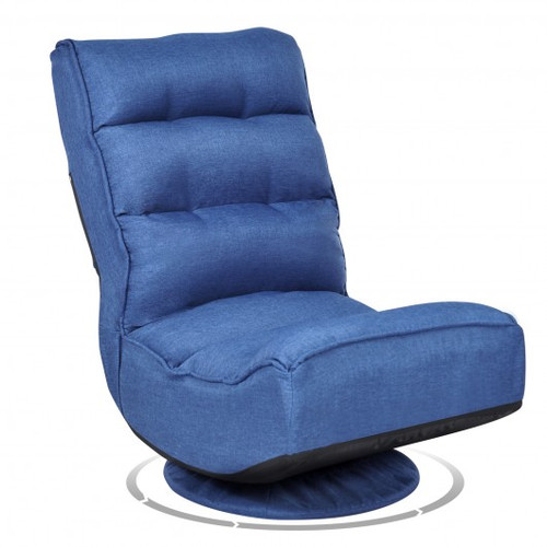 5-Position Folding Floor Gaming Chair-Navy