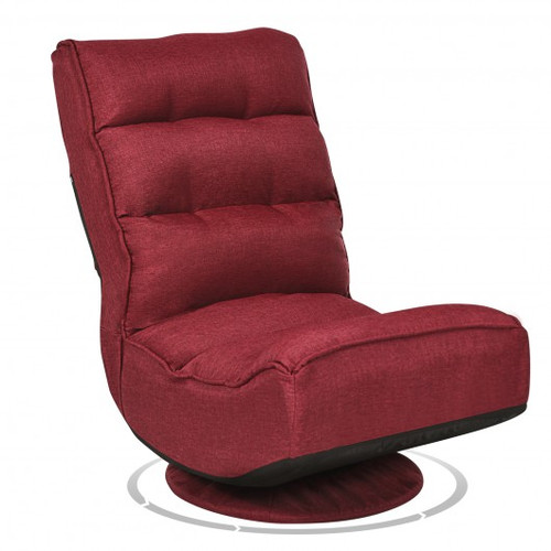 5-Position Folding Floor Gaming Chair-Wine Red