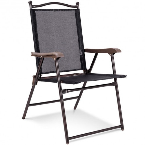 Set of 2 Patio Folding Sling Back Camping Deck Chairs-Black
