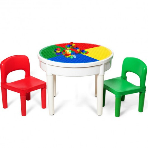 3-in-1 Children Activity Table & 2 Chairs Set Includes 300 Bricks