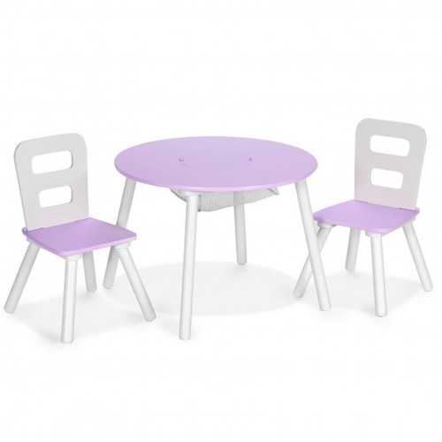 Purple Wood Activity Children Table & Chair Set w/Center Mesh Storage for Snack Time & Homework-