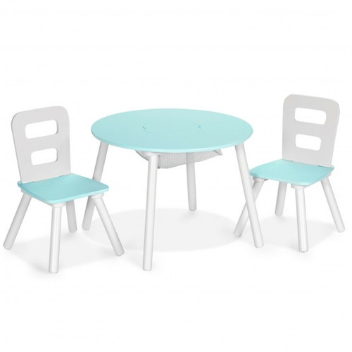 Green Wood Activity Children Table & Chair Set w/Center Mesh Storage for Snack Time & Homework-
