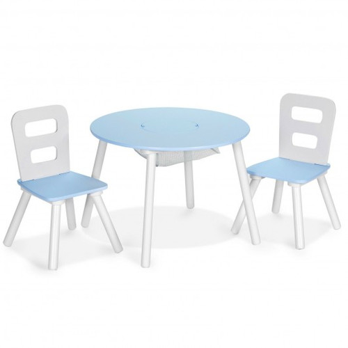 Blue Wood Activity Children Table & Chair Set w/Center Mesh Storage for Snack Time & Homework-