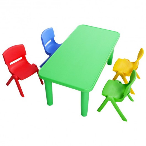 Children's Colorful Plastic Table & 4 Chairs Set