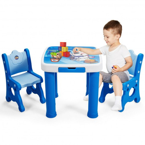 Adjustable Children Activity Play Table & 2 Chairs Set withStorage Drawer-Blue