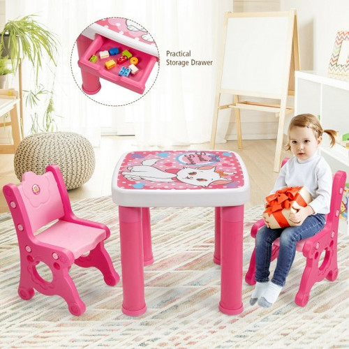 Adjustable Children Activity Play Table & 2 Chairs Set withStorage Drawer-Pink