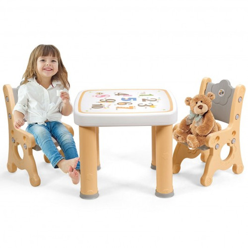 Adjustable Children Activity Play Table & 2 Chairs Set withStorage Drawer-Natural