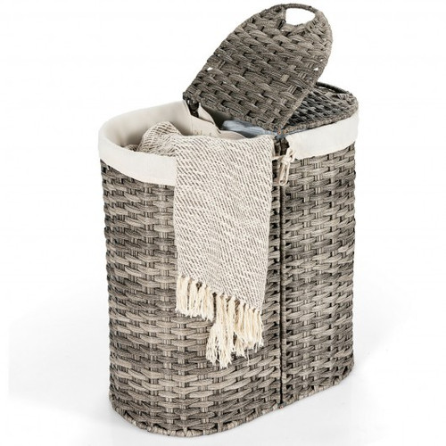 Handwoven Laundry Hamper Basket w/2 Removable Liner Bags-Gray