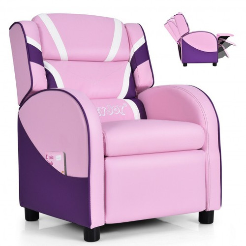 Children's Leather Recliner Chair w/Side Pockets-Pink