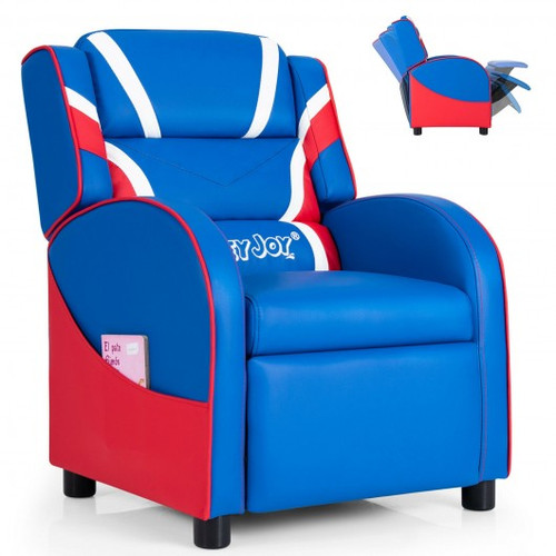 Children's Leather Recliner Chair w/Side Pockets-Blue