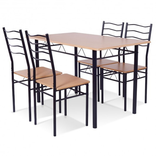 5pc Wood Metal Dining Table Set w/4 Chairs