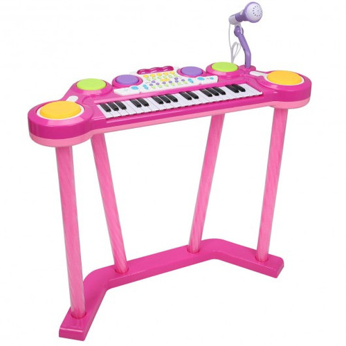 Children's 37 Key Electronic Keyboard Musical Piano w/ Microphone-Pink