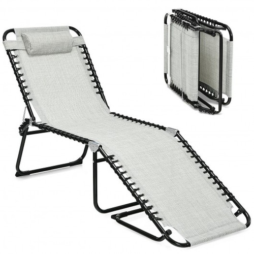 Folding Heightening Design Beach Lounge Chair w/Pillow for Patio-Gray