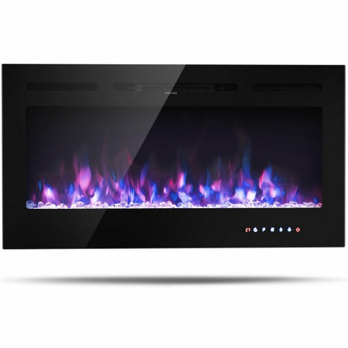 40'' Electric Fireplace Recessed Wall Mounted w/Multicolor Flame