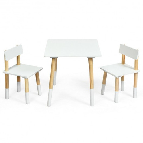 Children's Wooden Table & 2 Chairs Set-White