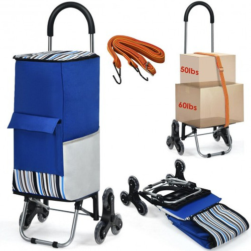 Removable Folding Shopping Cart w/Bungee Cord-Blue