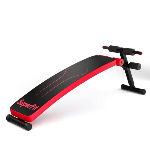 Folding Weight Bench Adjustable Sit-up Board Workout Slant Bench-Red