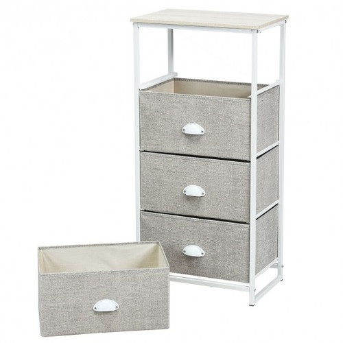 Chest Storage Tower Side Table Display Storage w/4 Drawers-Gray