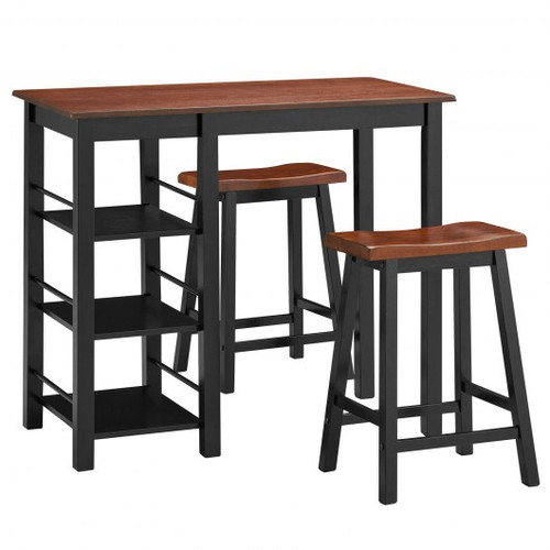 3 Piece Counter Height Dining Table Set w/2 Saddle Stools & Storage Shelves