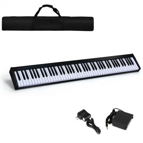 88-Key Portable Electronic Piano w/Bluetooth & Voice Function-Black