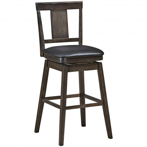 29 inch Swivel Upholstered Counter Height Bar Stool w/Rubber Wood Legs